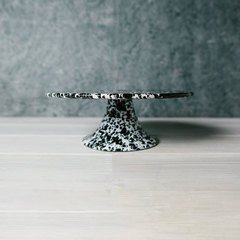black splattered cake platter from crow canyon home