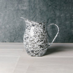 gray splattered large enamel 3 quart pitcher from crow canyon home
