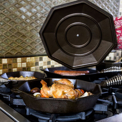 Finex cast iron skillet with lid roasted chicken