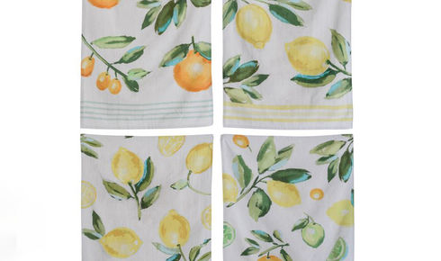 four piece cotton tea towel set with lemons and oranges as pattern
