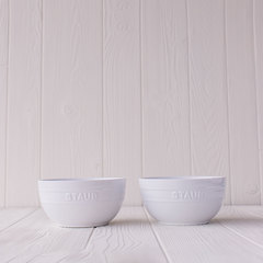 Set of 2 large universal bowls in white from Staub