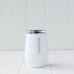 Stainless steel wine glass in white.