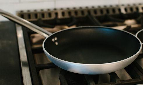 11 inch aluminum nonstick fry pan from ballarini on the stove