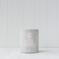 "Mud Pie ""Hold"" Utensil Crock in concrete color"