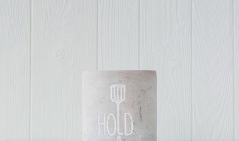 "Mud Pie ""Hold"" Utensil Crock in concrete color"