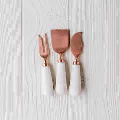 copper and marble set of 3 cheese set
