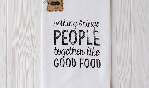 "Mud Pie ""Nothing brings people together like good food"" Printed Towel"