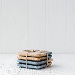 mud pie slate and wood coasters set of 4