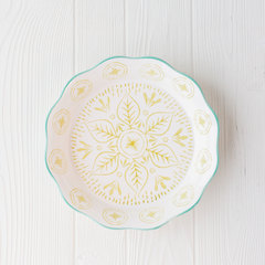 pie plate from creative co-op with green and aqua decorative pattern