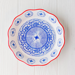 pie plate from creative co-op with blue and red decorative pattern