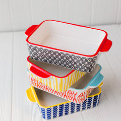 vibrant patterns on 4 piece mini stoneware baker set from creative co-op stacked up