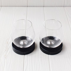 set of 2 aura wine glasses with coasters
