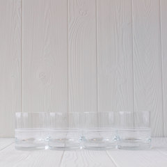 four old fashioned glasses side by side from crafthouse by fortessa