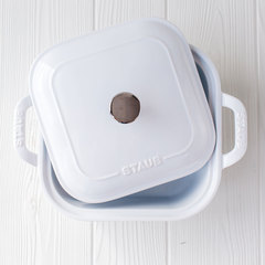 top of white covered 9x9 covered staub baking dish