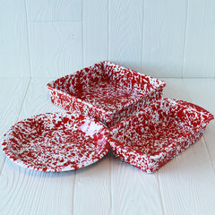 3 red splattered baking dishes from crow canyon home