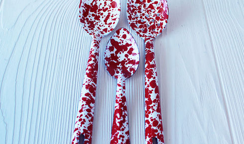 3 red splattered serving spoons from crow canyon home