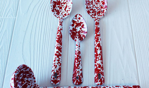 4-Piece Deluxe Spoon red splatter