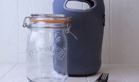 glass mason jar with stainless steel spork and gray carrying pouch from kilner