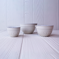 3 white measuring cups in different sizes from mason cash