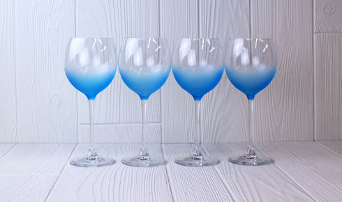 Set of four LSA Haze Wineglasses in Sky