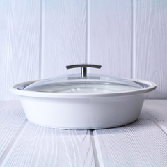 white casserole dish with glass lid from revol