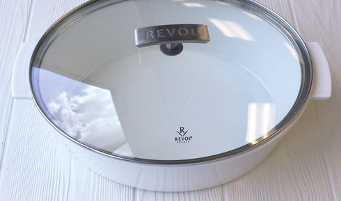 White Revol Oval Cocotte with Glass Lid