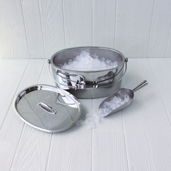 stainless steel ice bucket with scoop and lid from crafthouse by fortessa with ice