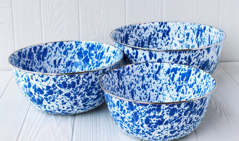 3 enamel blue and white splattered bowls from crow canyon home